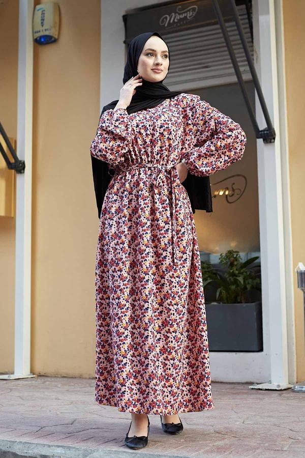 Çıtır Desen Anne Elbise 100MD-7205 Pudra