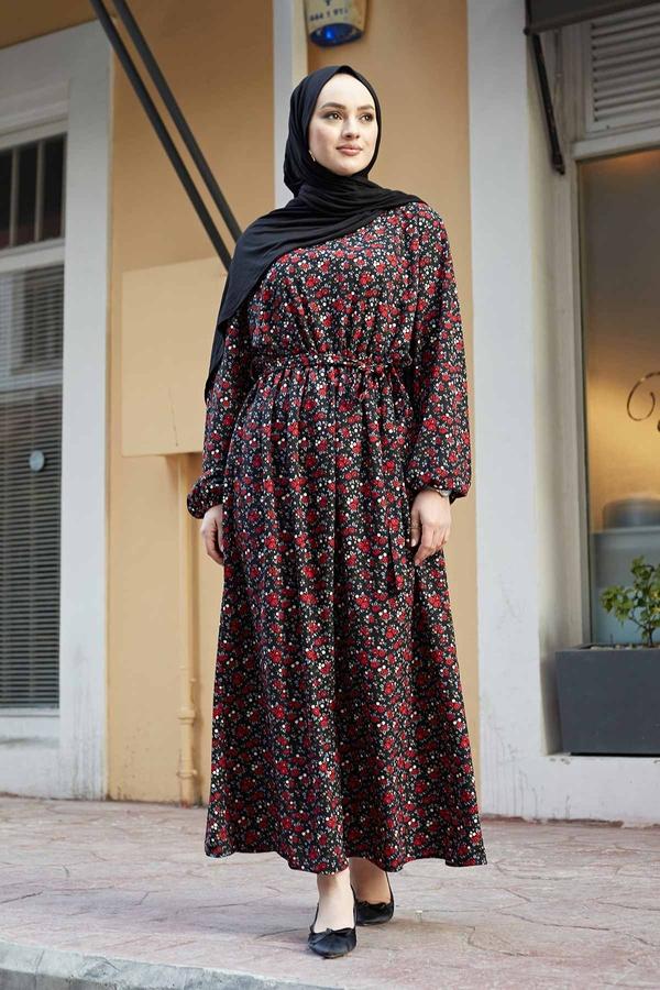 Çıtır Desen Anne Elbise 100MD-7205 Siyah