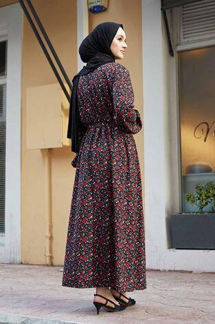 Çıtır Desen Anne Elbise 100MD-7205 Siyah - Thumbnail