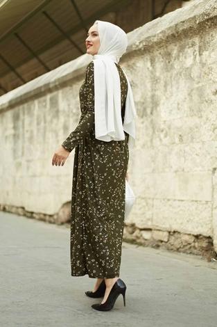 Çıtır Desen Bel Büzgülü Elbise 260ER2454 Haki - Thumbnail
