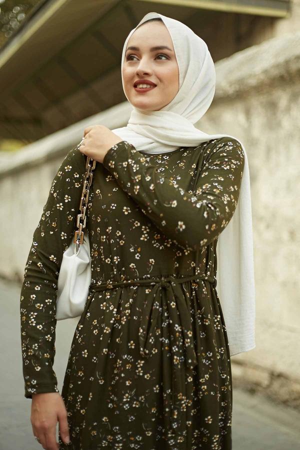 Çıtır Desen Bel Büzgülü Elbise 260ER2454 Haki