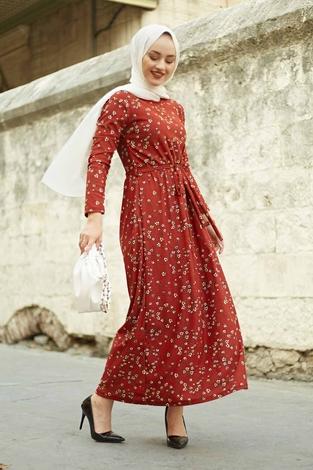 EMİR - Çıtır Desen Bel Büzgülü Elbise 260ER2454 Kiremit