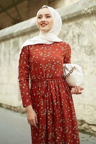 EMİR - Çıtır Desen Bel Büzgülü Elbise 260ER2454 Kiremit (1)
