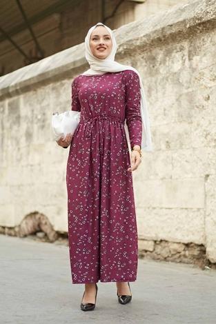 EMİR - Çıtır Desen Bel Büzgülü Elbise 260ER2454 Şarabi