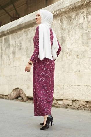 Çıtır Desen Bel Büzgülü Elbise 260ER2454 Şarabi - Thumbnail