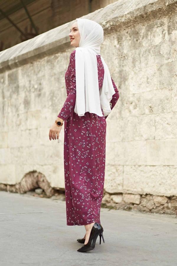 Çıtır Desen Bel Büzgülü Elbise 260ER2454 Şarabi