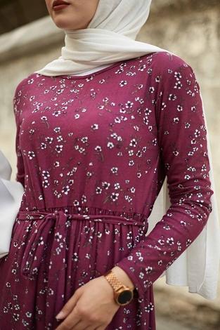 EMİR - Çıtır Desen Bel Büzgülü Elbise 260ER2454 Şarabi (1)
