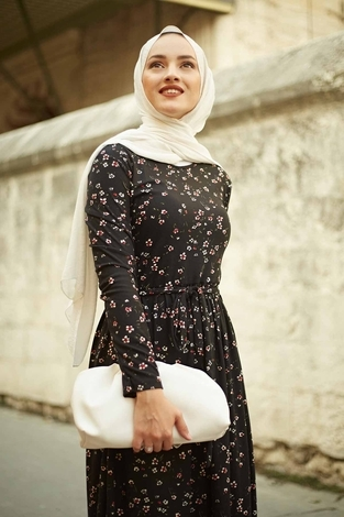 EMİR - Çıtır Desen Bel Büzgülü Elbise 260ER2454 Siyah (1)