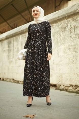 EMİR - Çıtır Desen Bel Büzgülü Elbise 260ER2454 Siyah