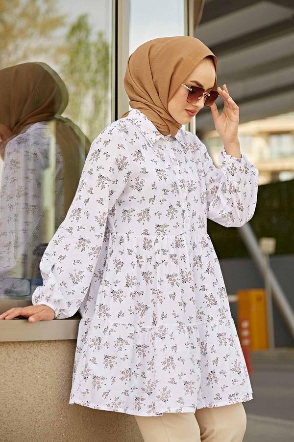 Çıtır Desenli Tunik 350TH-1043 Beyaz