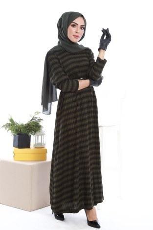 - Çizgi Desen Triko Elbise 1112-02