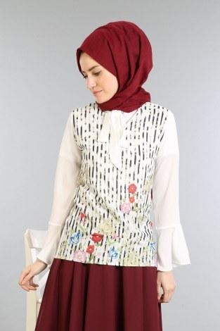 Çizgili Baskılı Gömlek-Bluz 8305-2 - Thumbnail