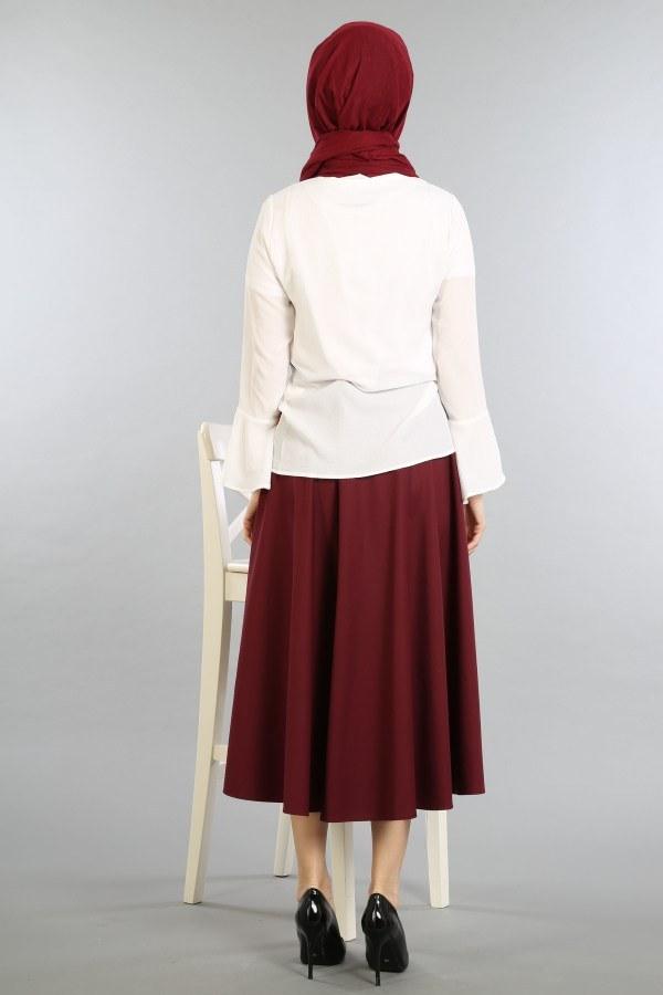 Çizgili Baskılı Gömlek-Bluz 8305-2