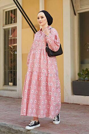 Çizgili Çiçek Baskılı Uzun Elbise 100MD-10301 Kırmızı - Thumbnail