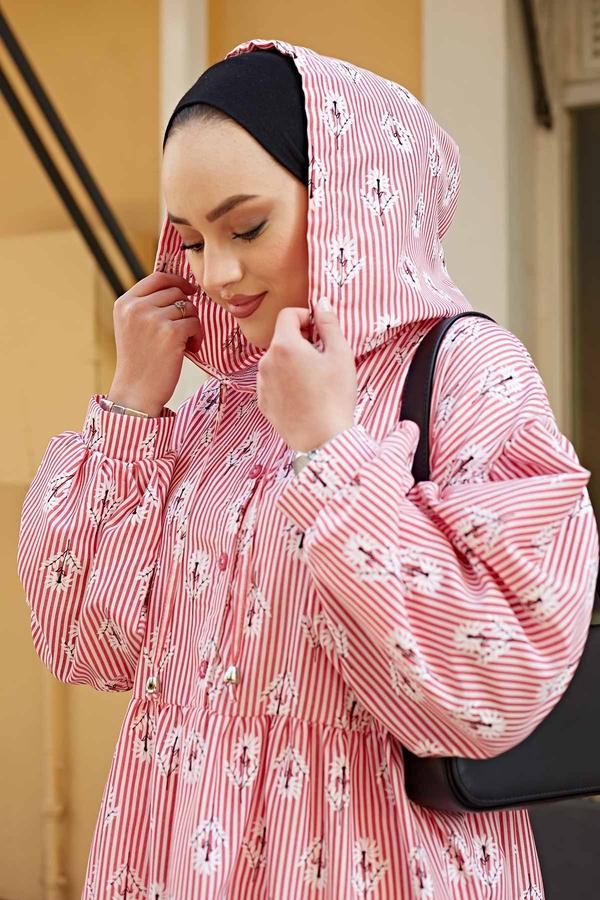 Çizgili Çiçek Baskılı Uzun Elbise 100MD-10301 Kırmızı
