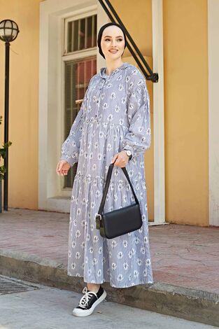 Çizgili Çiçek Baskılı Uzun Elbise 100MD-10301 Lacivert - Thumbnail