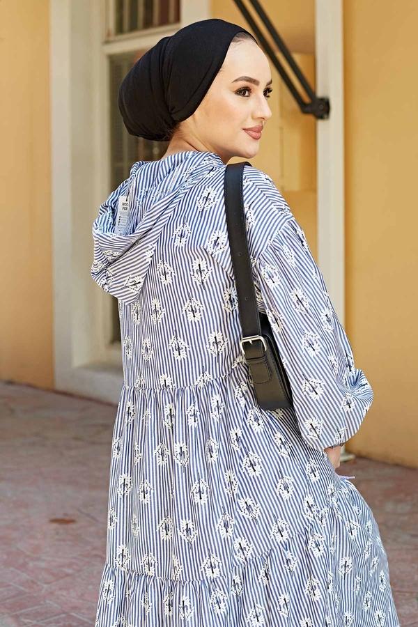 Çizgili Çiçek Baskılı Uzun Elbise 100MD-10301 Lacivert