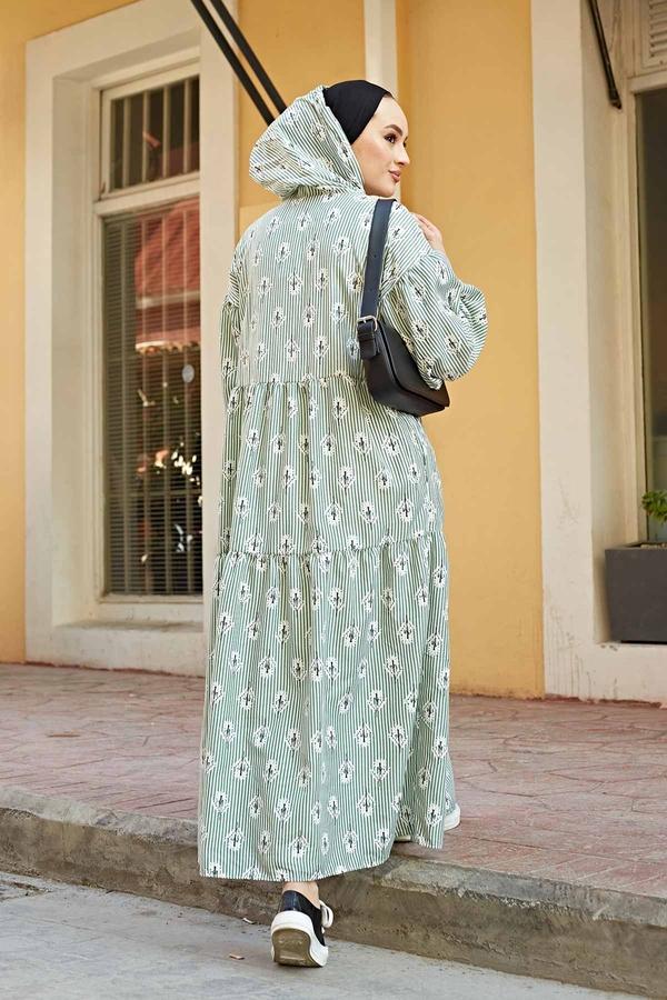 Çizgili Çiçek Baskılı Uzun Elbise 100MD-10301 Mint