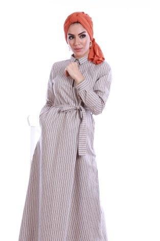 - Çizgili Gömlek Yaka Elbise 78992-01 (1)