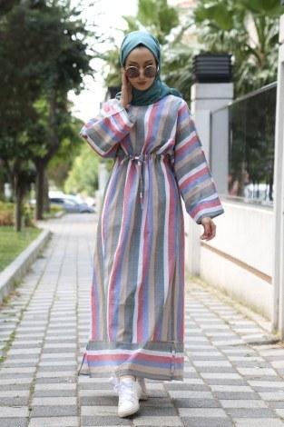Çizgili elbise 03968-09 - Thumbnail