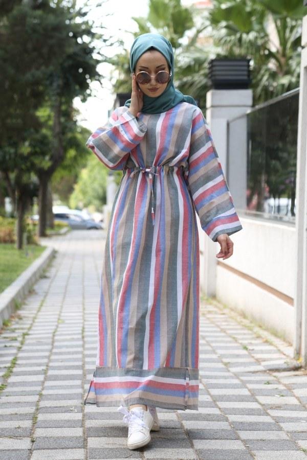 Çizgili elbise 03968-09