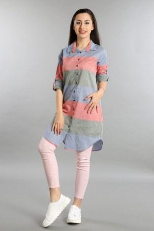 - Çizgili Gömlek Tunik 5616-03
