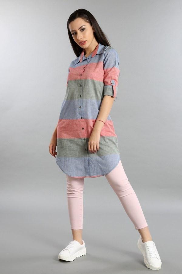 Çizgili Gömlek Tunik 5616-03