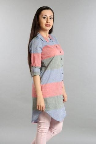 Çizgili Gömlek Tunik 5616-03 - Thumbnail