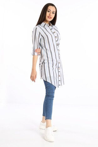 - Çizgili Gömlek Tunik 5667-04