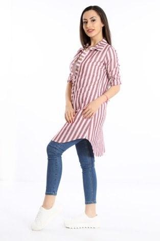 - Çizgili Gömlek Tunik 5667-05