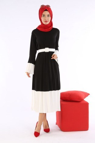 Çift Renk Piliseli Elbise 0744-01 - Thumbnail
