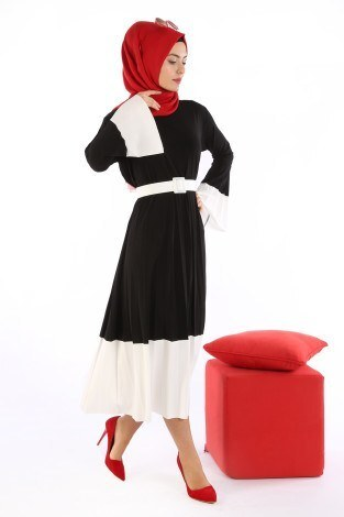 - Çift Renk Piliseli Elbise 0744-01