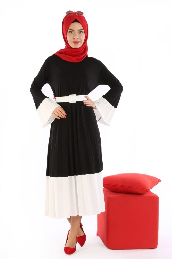 Çift Renk Piliseli Elbise 0744-01