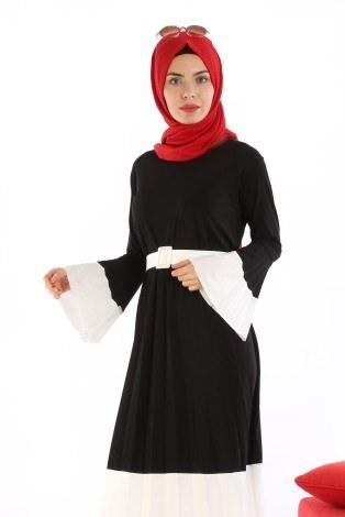 - Çift Renk Piliseli Elbise 0744-01 (1)