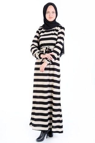 - Çizgili Triko Elbise 8541-11