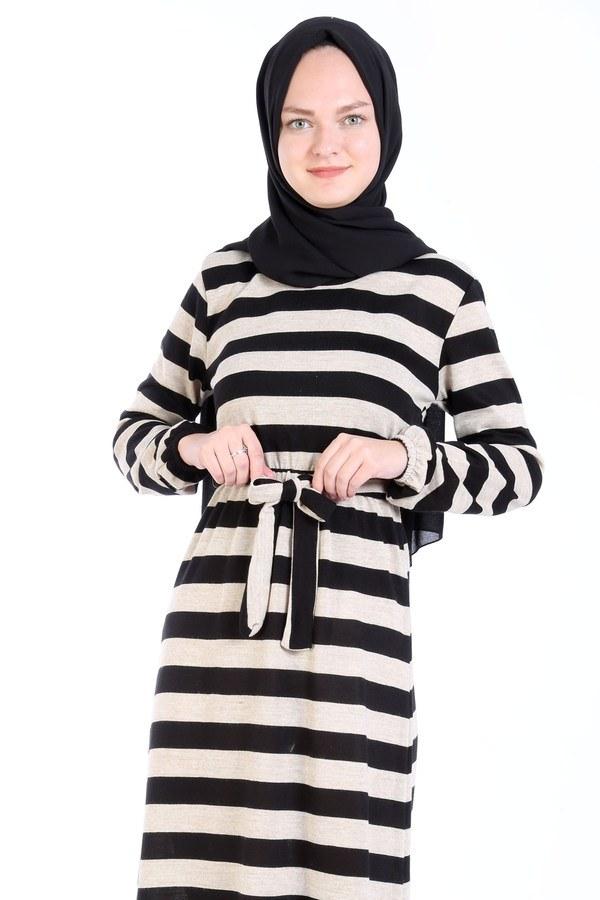 Çizgili Triko Elbise 8541-11 bej