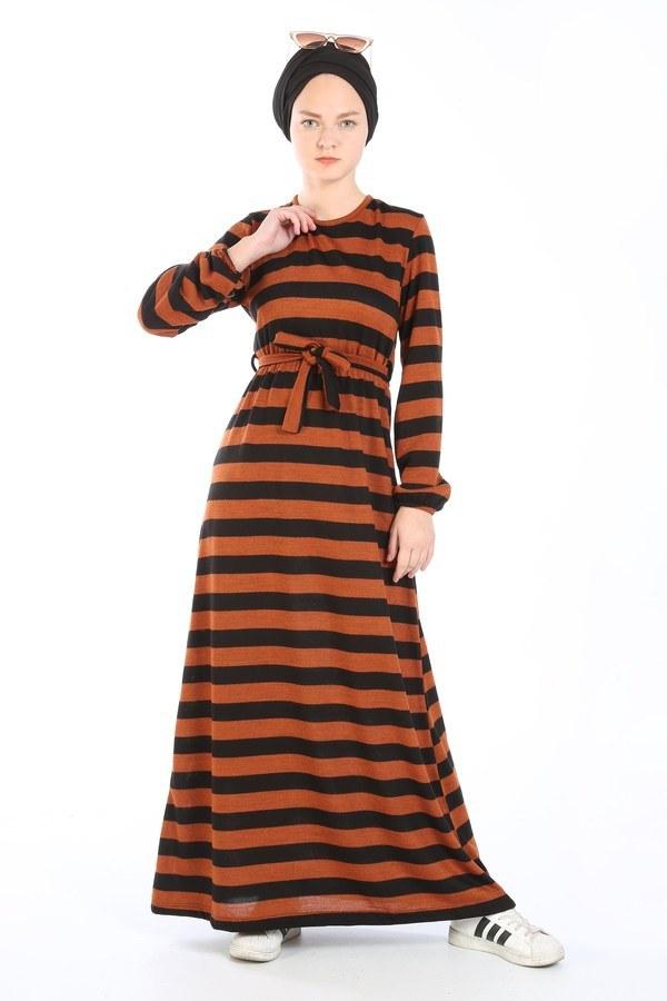 Çizgili Triko Elbise 8541-16 taba