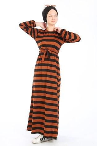 Çizgili Triko Elbise 8541-16 taba - Thumbnail