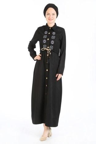 Nakış Detaylı Elbise 20105-01 siyah - Thumbnail