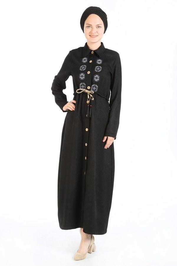 Nakış Detaylı Elbise 20105-01 siyah