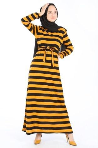 - Çizgili Triko Elbise 8541-10