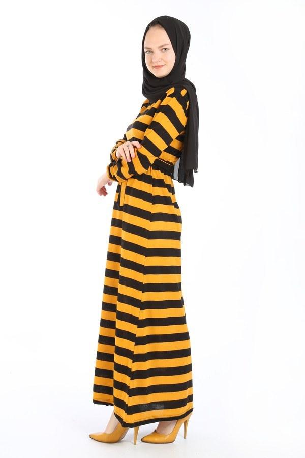 Çizgili Triko Elbise 8541-10 hardal