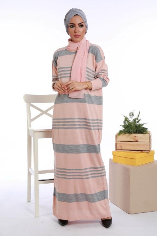 - Çizgili Triko Elbise K2557-02