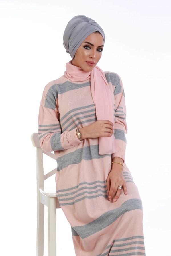 - Çizgili Triko Elbise K2557-02 (1)
