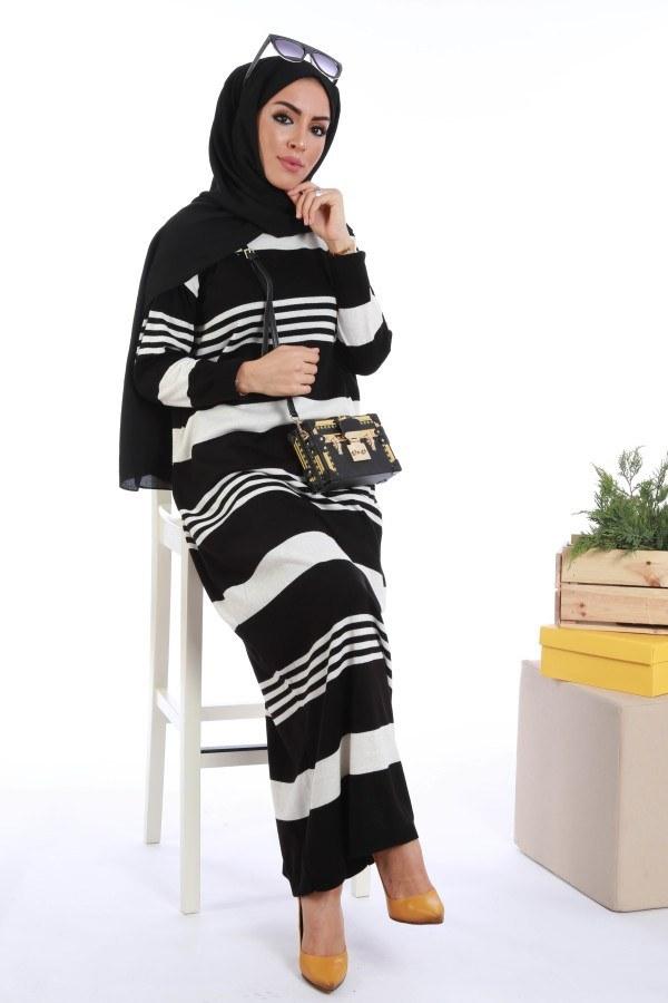 - Çizgili Triko Elbise K2557-03 (1)