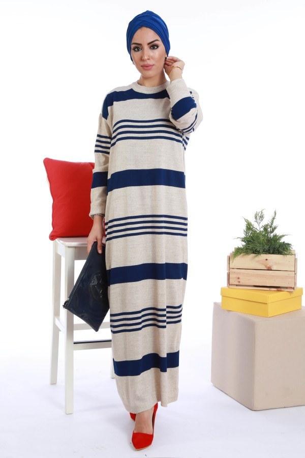 - Çizgili Triko Elbise K2557-04