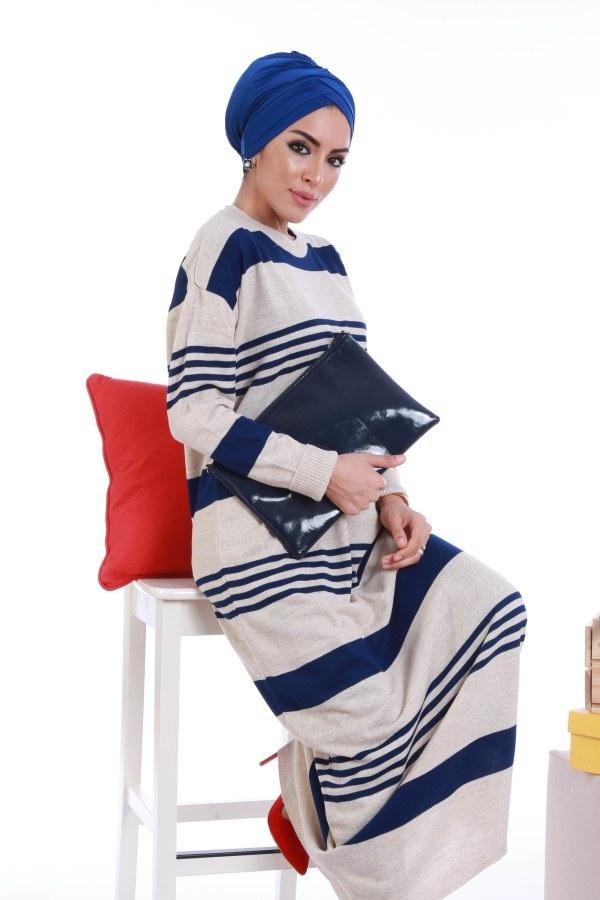 - Çizgili Triko Elbise K2557-04 (1)