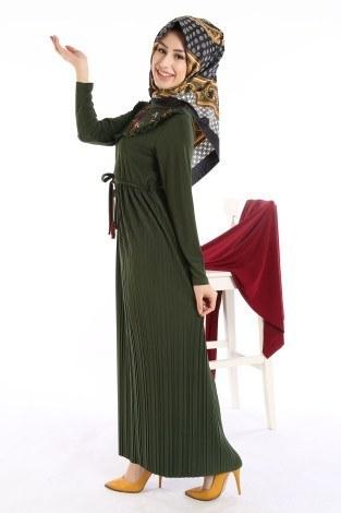 - Piliseli Nakışlı Elbise 1546-01