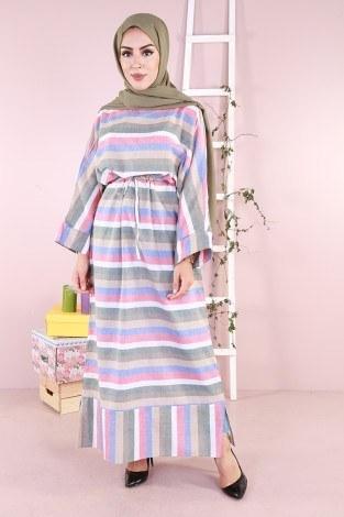 - Çizgili elbise 03968-05