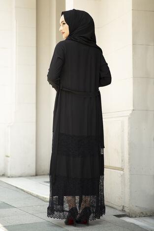 Dantel Detaylı Abaya Siyah - Thumbnail